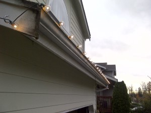 A close-up of the lights above the garage.